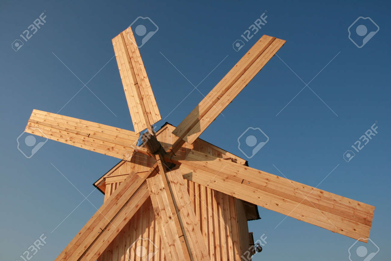 Rural wooden windmill against clear deep blue sky Stock Photo - 3666731