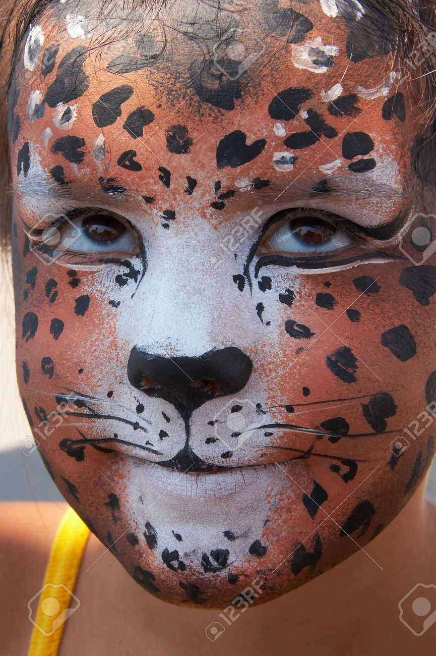 cute girl kid face with painted panther color mask Stock Photo - 3722035