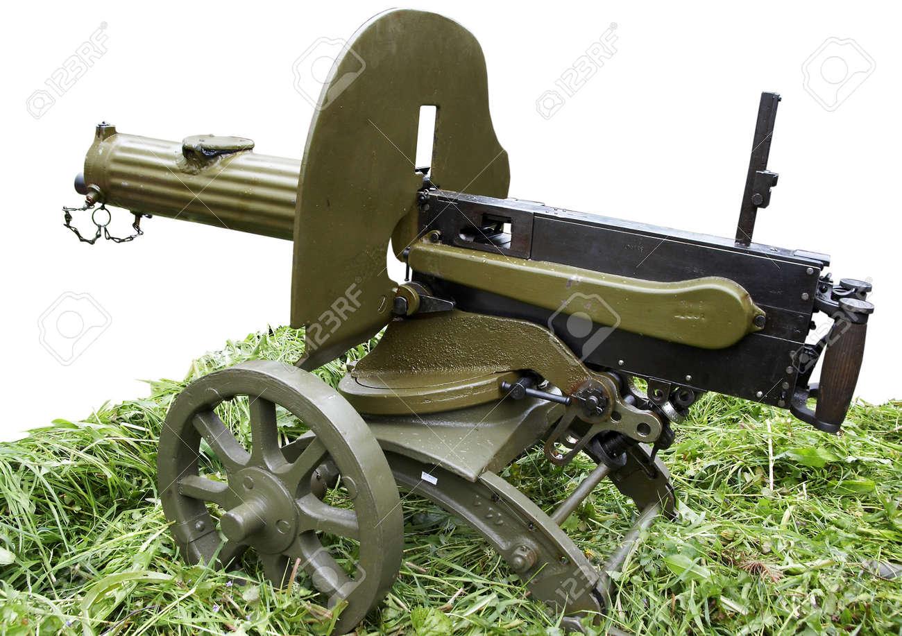 Isolated vintage self-powered Maxim machine gun Stock Photo - 16961539
