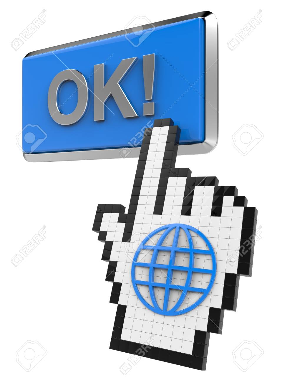 Ok! button and hand cursor with icon of the globe. Stock Photo - 14319186