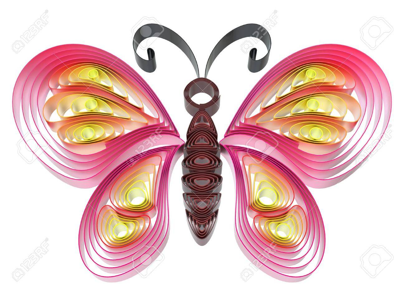 Abstract  colorful butterfly isolated on white background. 3d illustration in pseudo quilling style. Stock Illustration - 19072105