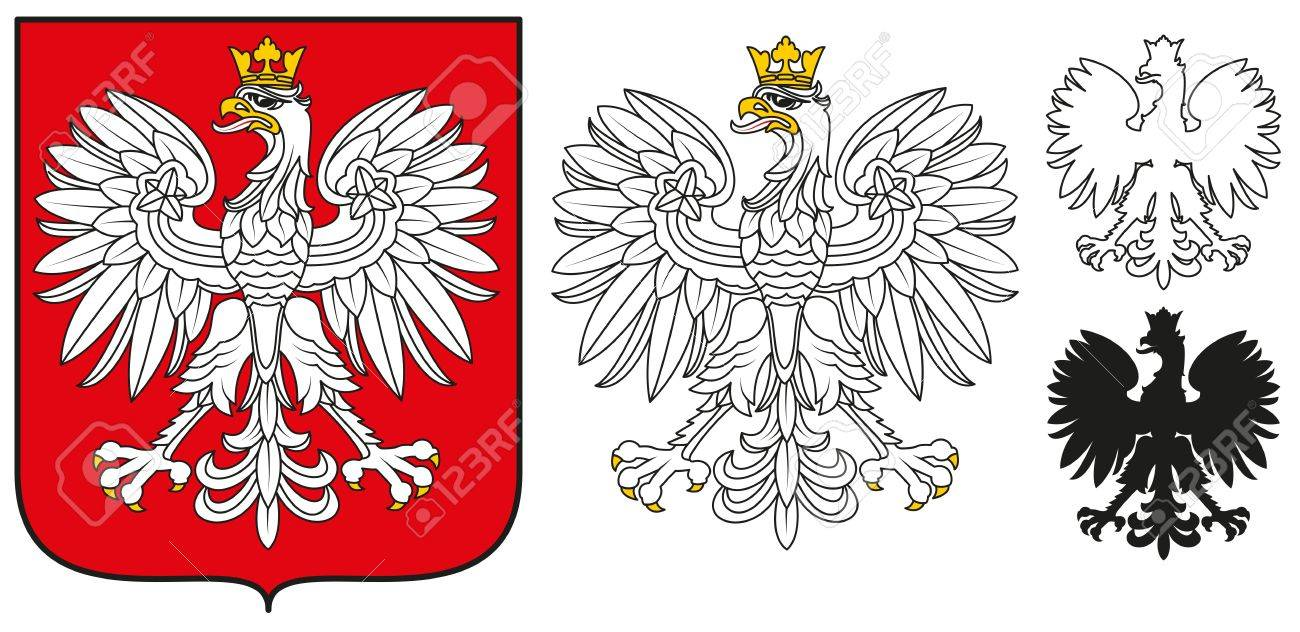 poland emblem white eagle shield and silhouette royalty free