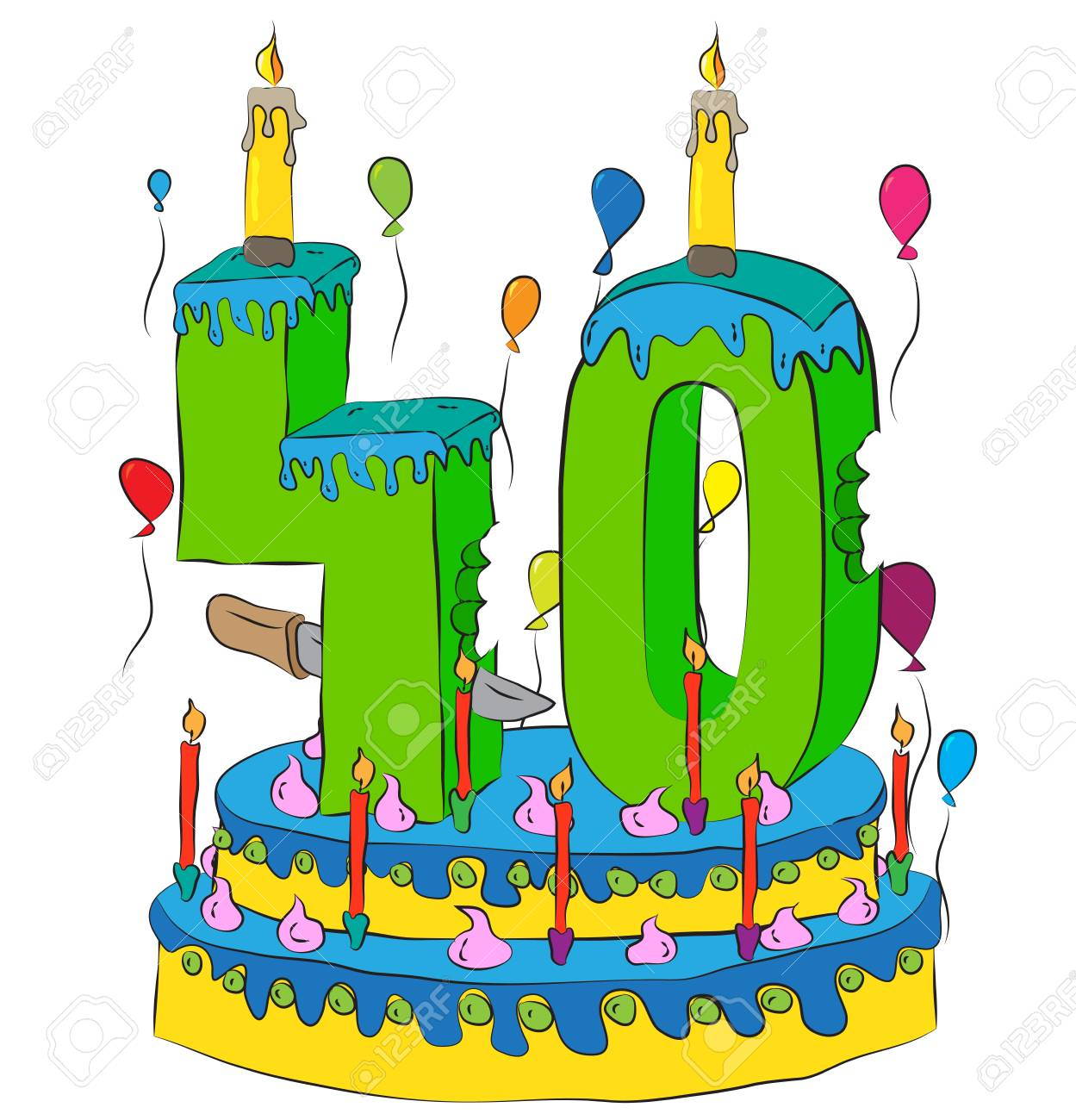 40 Birthday Cake With Number Forty Candle Celebrating Fortieth