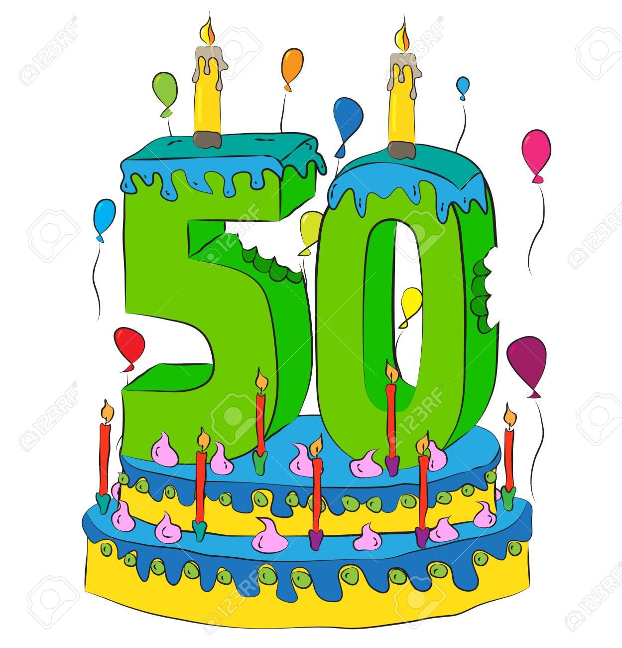 50 Geburtstagskuchen Mit Kerze Der Nr Fünfzig Fünfzigstes Jahr Des