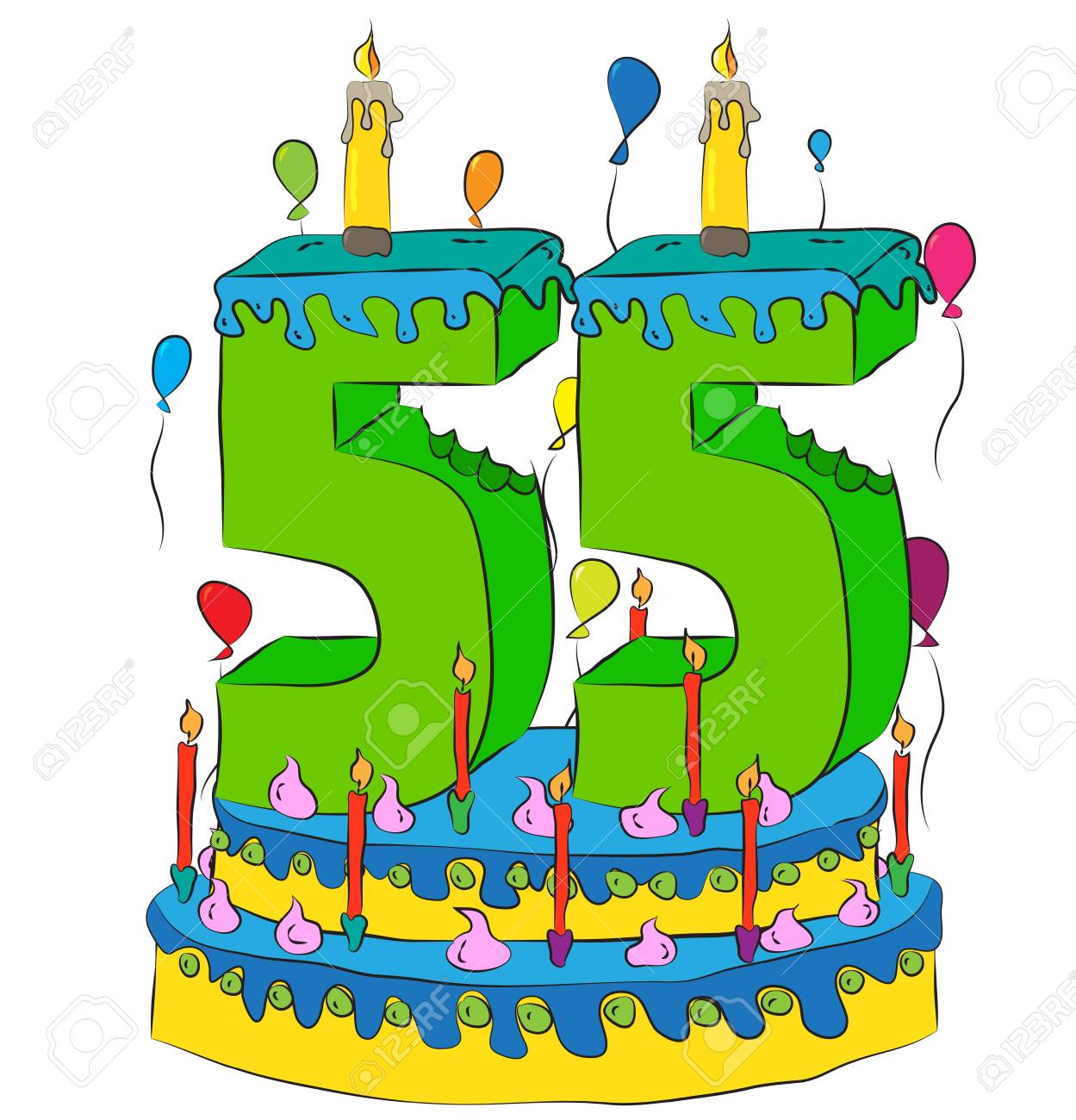 Surprising 55 Birthday Cake With Number Fifty Five Candle Celebrating Fifty Personalised Birthday Cards Paralily Jamesorg