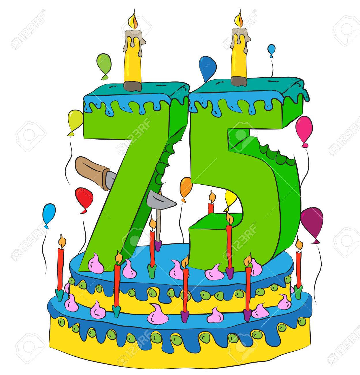 Swell 75 Birthday Cake With Number Seventy Five Candle Celebrating Funny Birthday Cards Online Elaedamsfinfo