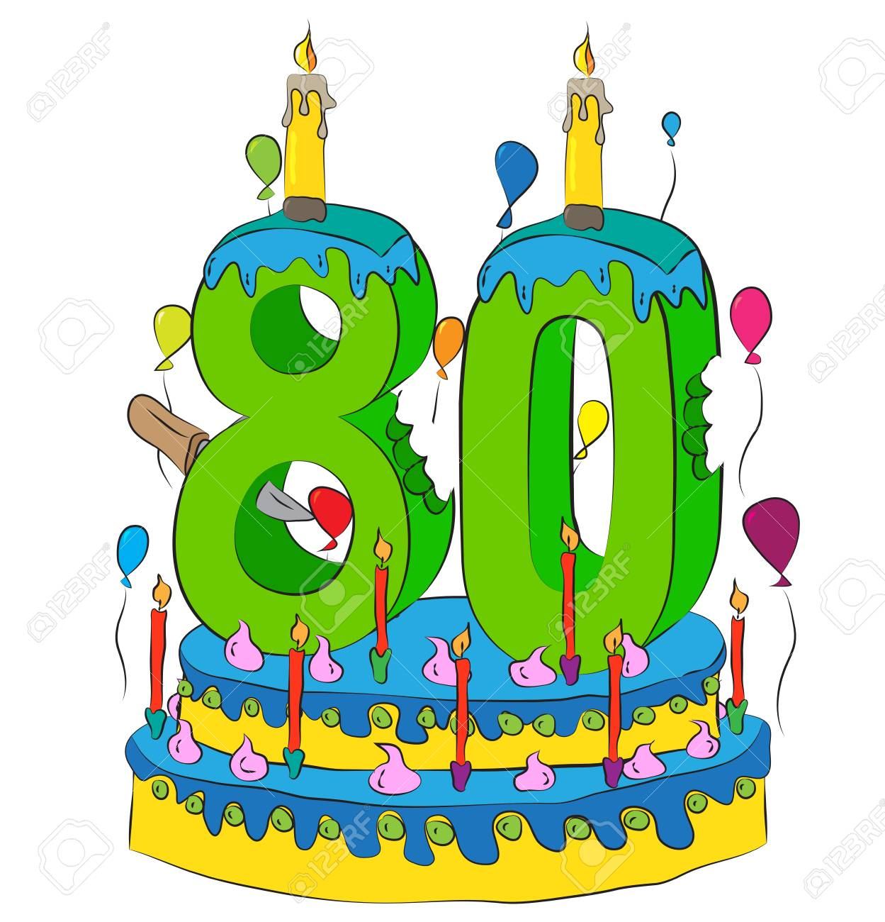 80 Birthday Cake With Number Eighty Candle Celebrating Eightieth