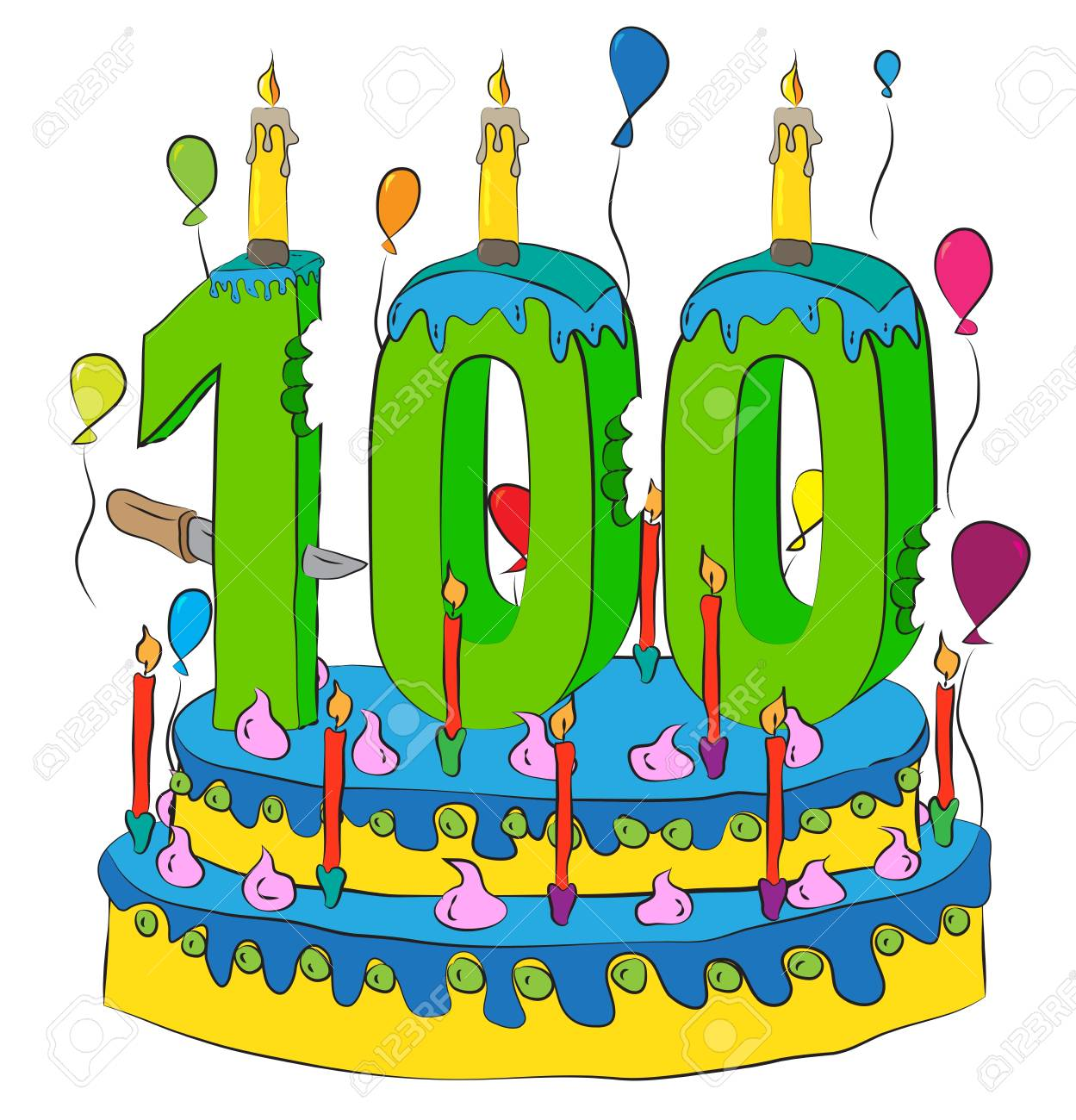 100 Birthday Cake With Number Hundred Candle Celebrating Hundredth Year Of Life Colorful Balloons