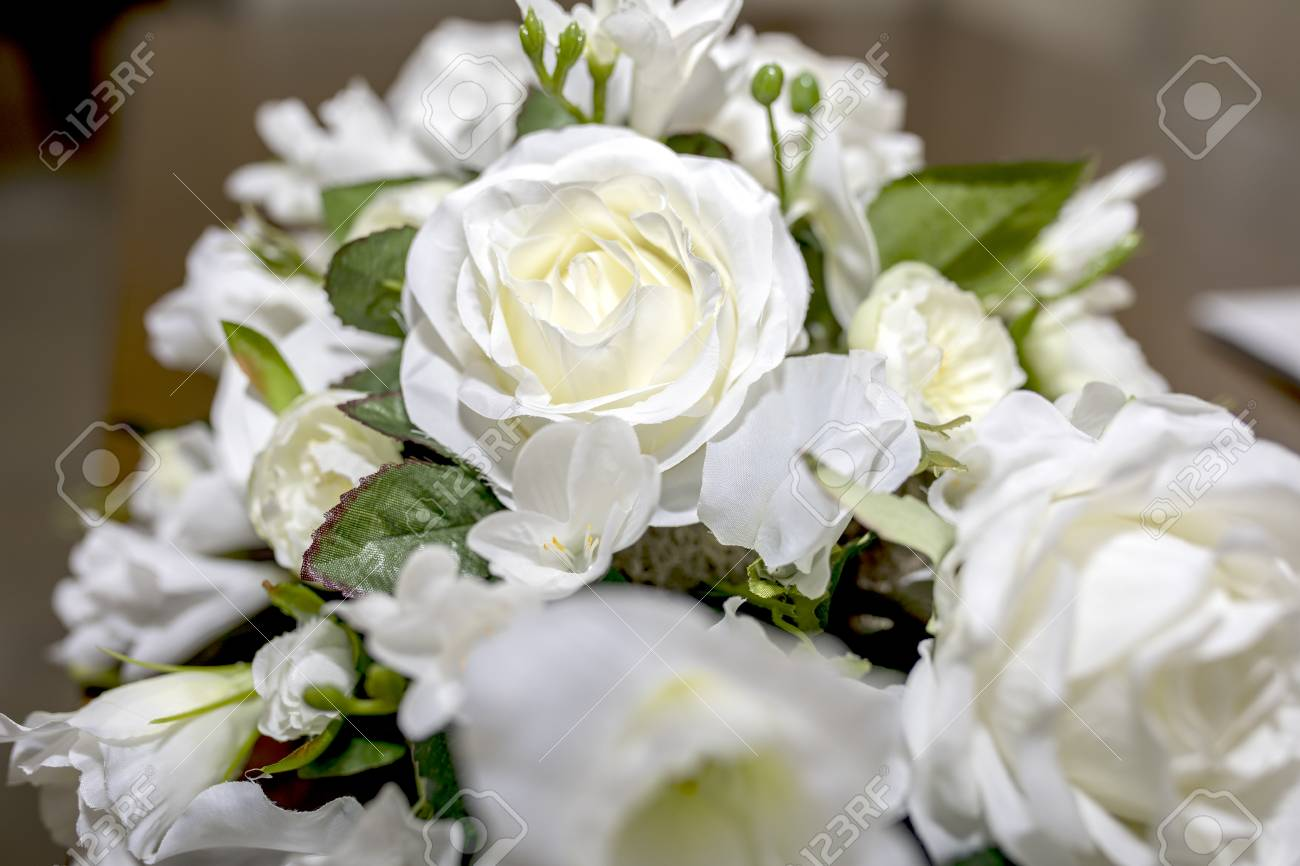 Artificial White Roses Wedding Bouquet Of Flowers Shot Close Stock