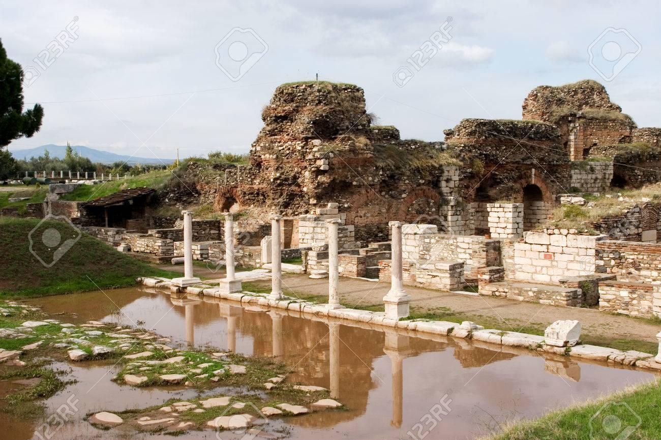 サルディスの古代のジムの遺跡、...