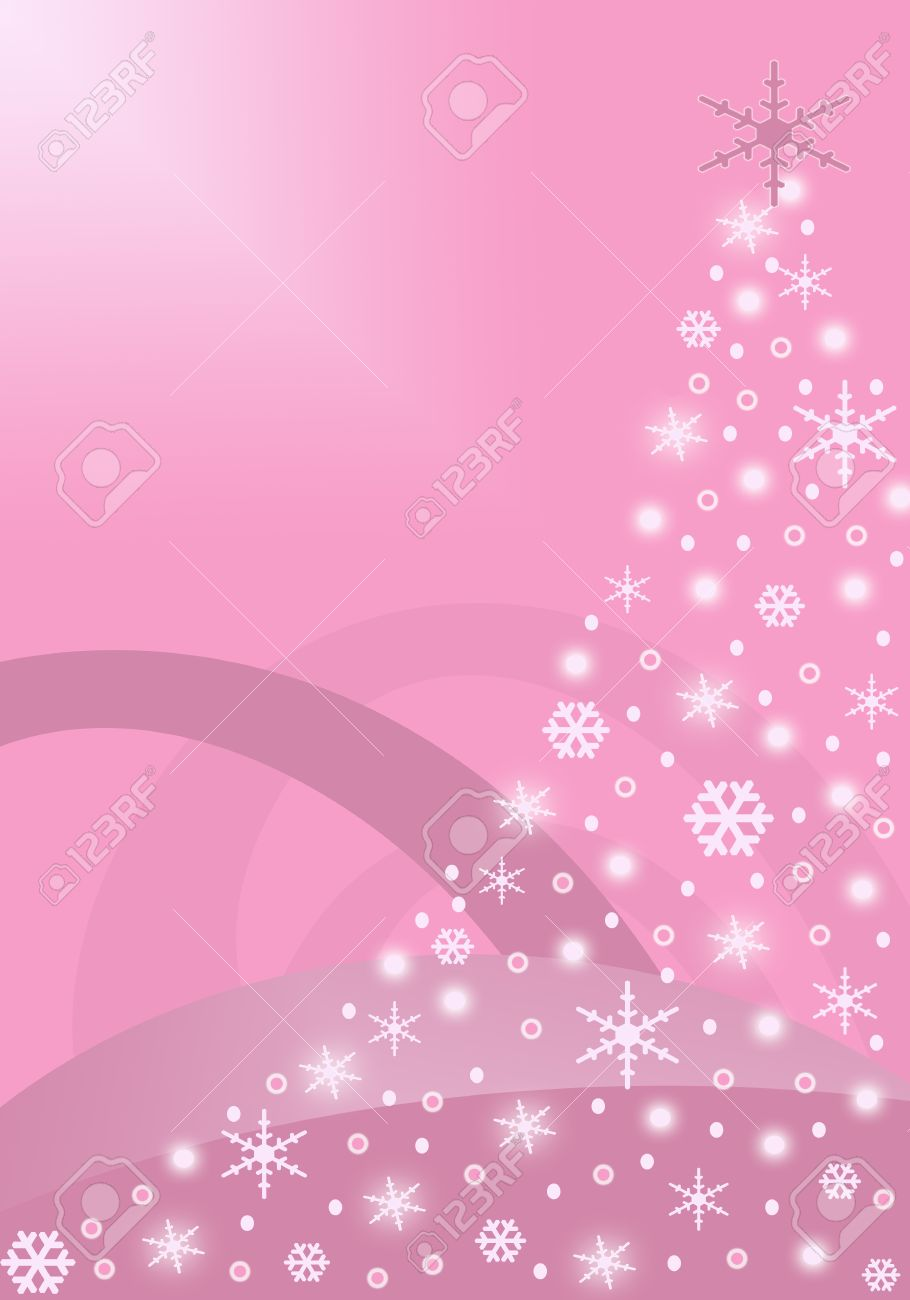 Pink Christmas Tree Background With Glowing Snowflakes Stock Photo