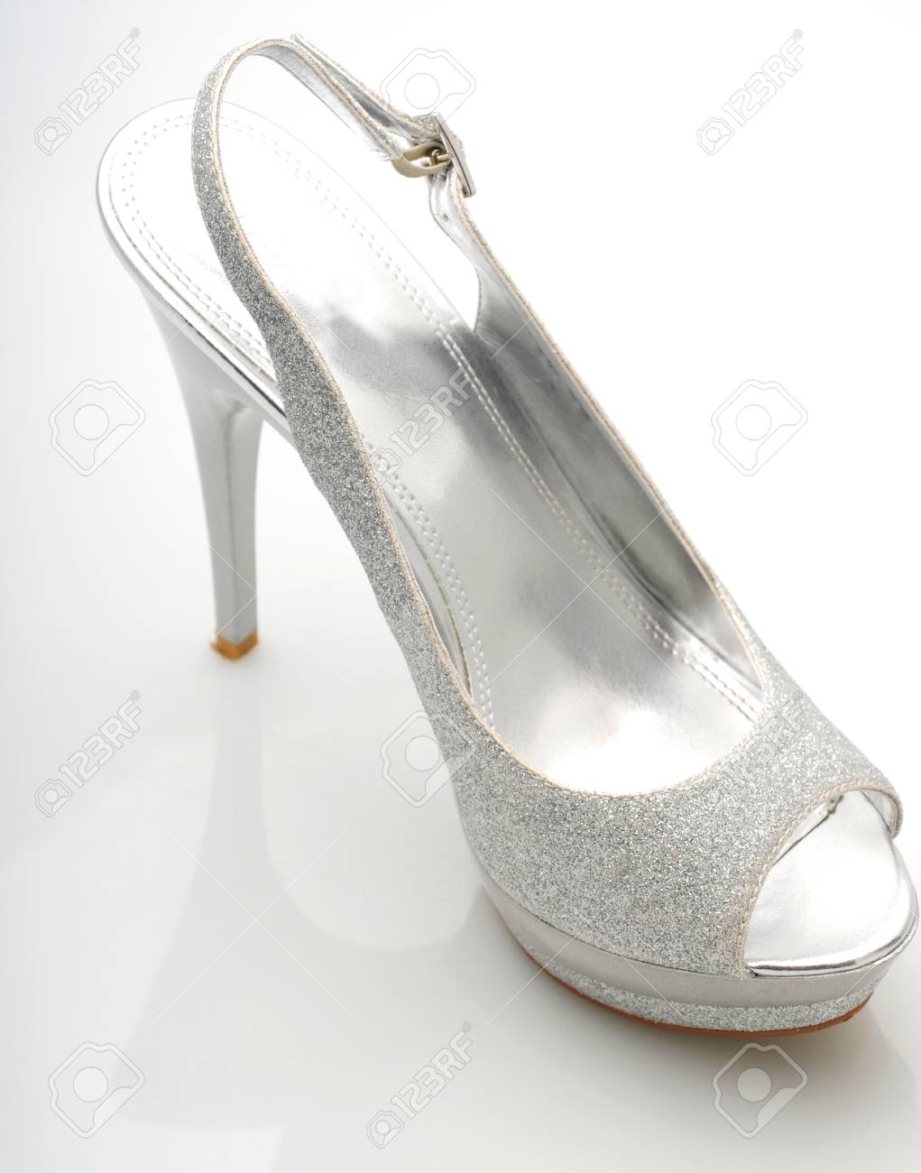 e21db2d920 trendy Silver glitter stiletto heel on white background Stock Photo -  13899803