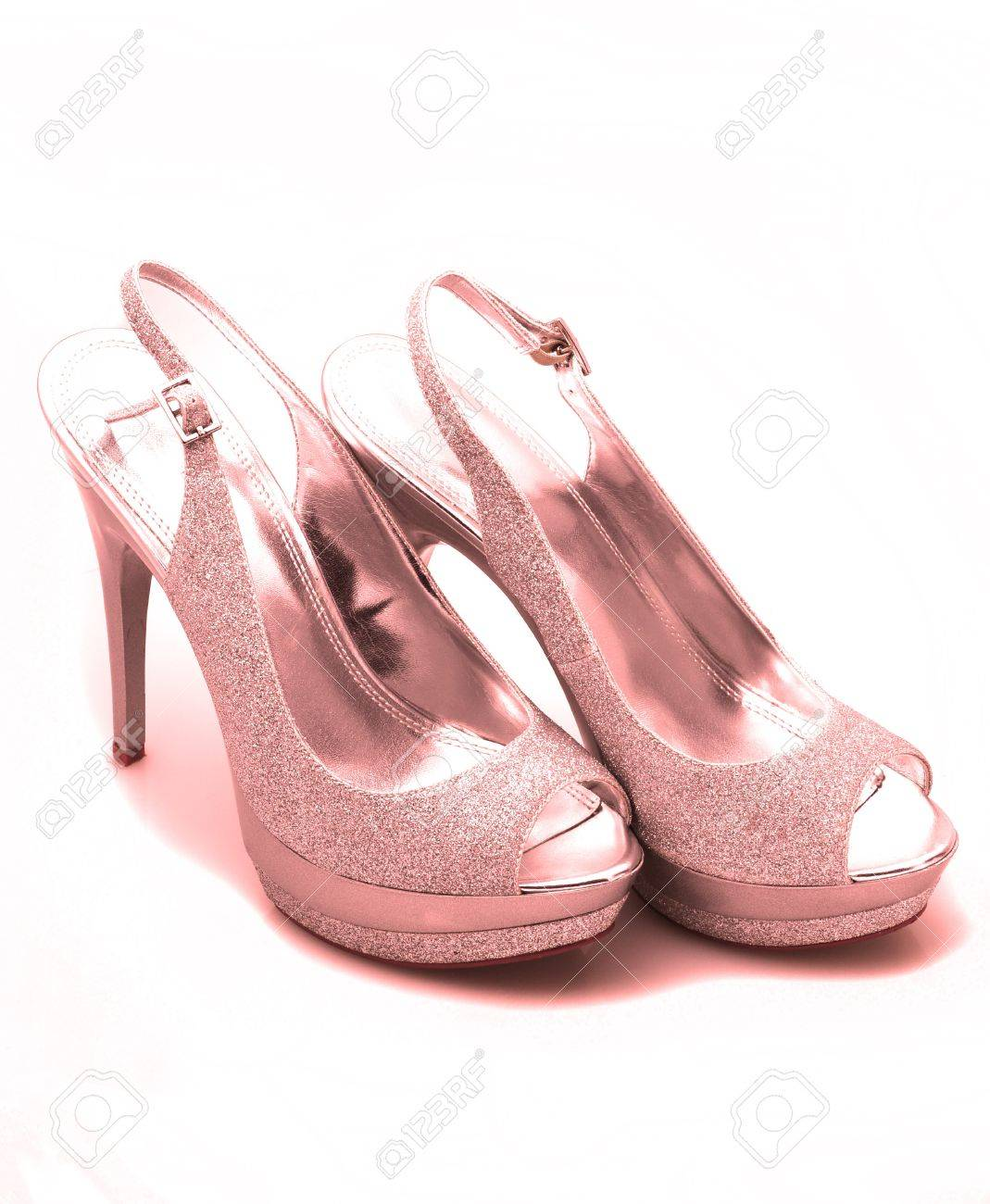 Pink glitter stiletto heels on white background Stock Photo - 14110061 477249d2a