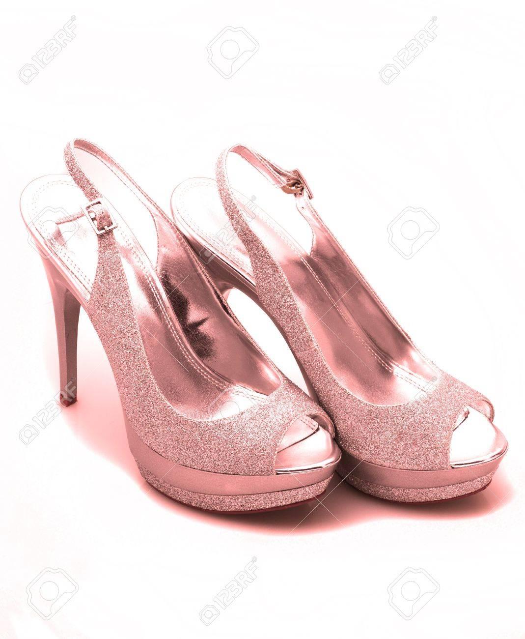 3099a25c42c Pink glitter stiletto heels on white background