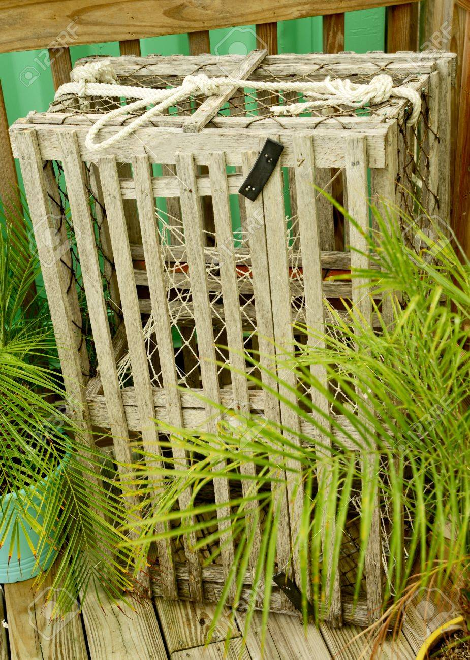 Wooden Commercial Lobster Or Crab Trap In Florida