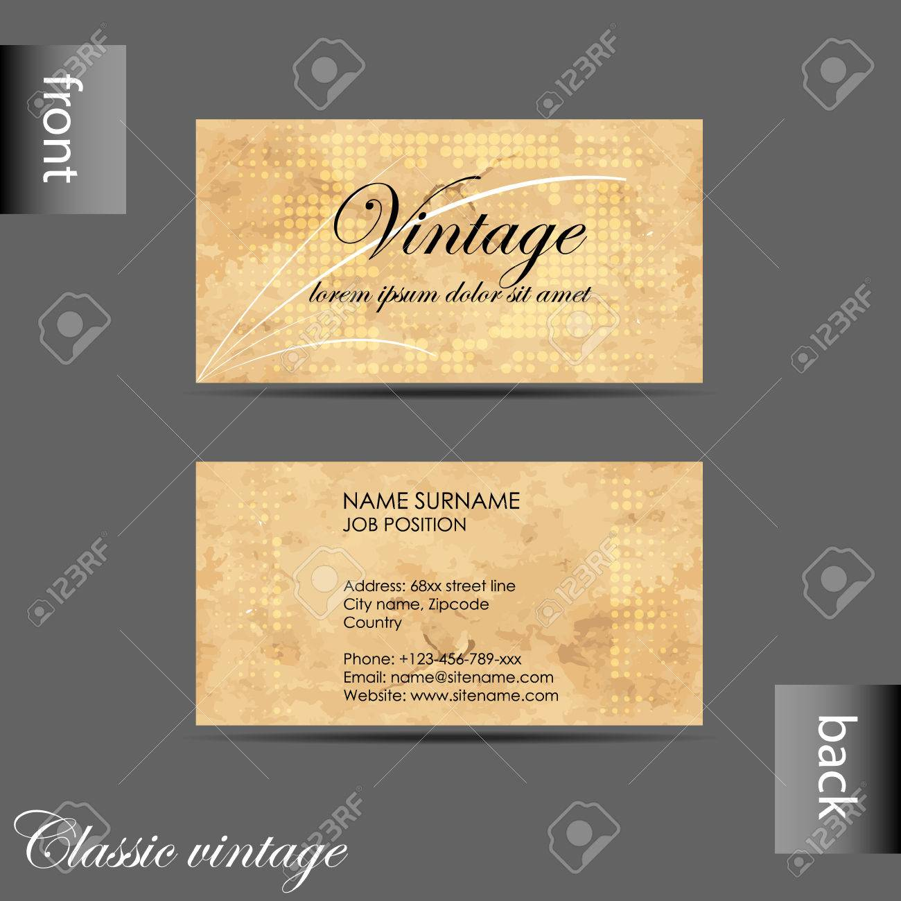 Vector Old-style Retro Vintage Business Card With Front And Back ...