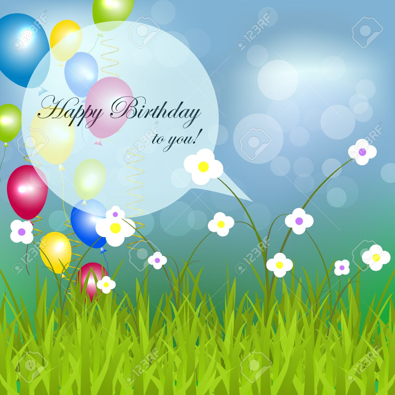 Happy Birthday Background With Flowers Bubbles Green Grass And Balloons Stock Vector