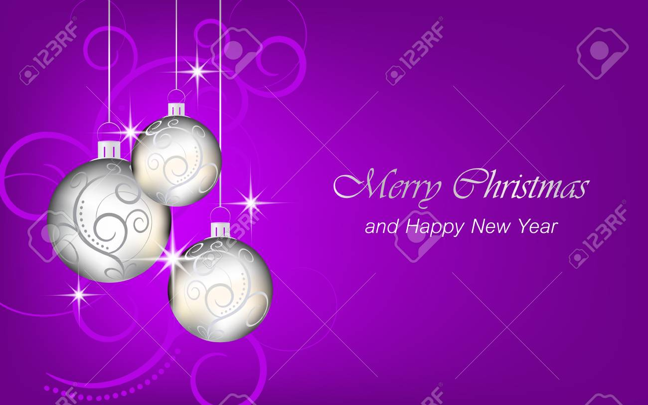 christmas and new year vector background wallpaper for greeting card or banner with christmas balls stock