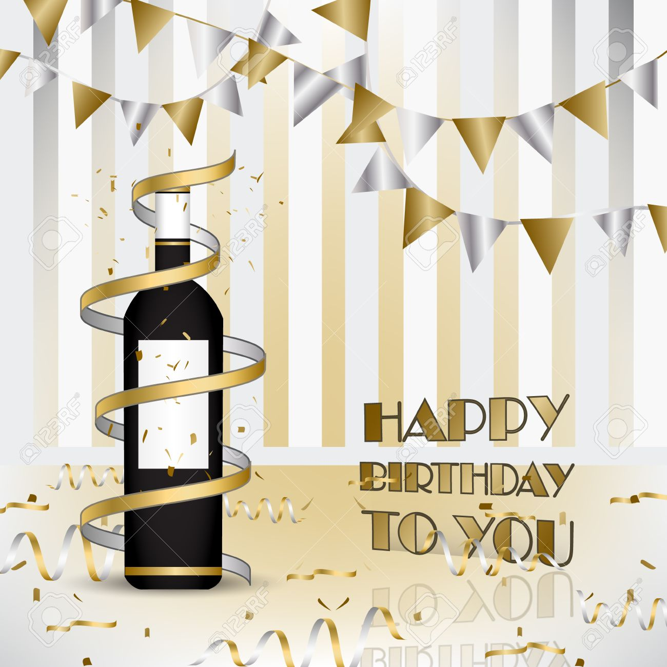 Happy Birthday Background With Bottle Of Wine And Ribbons Design