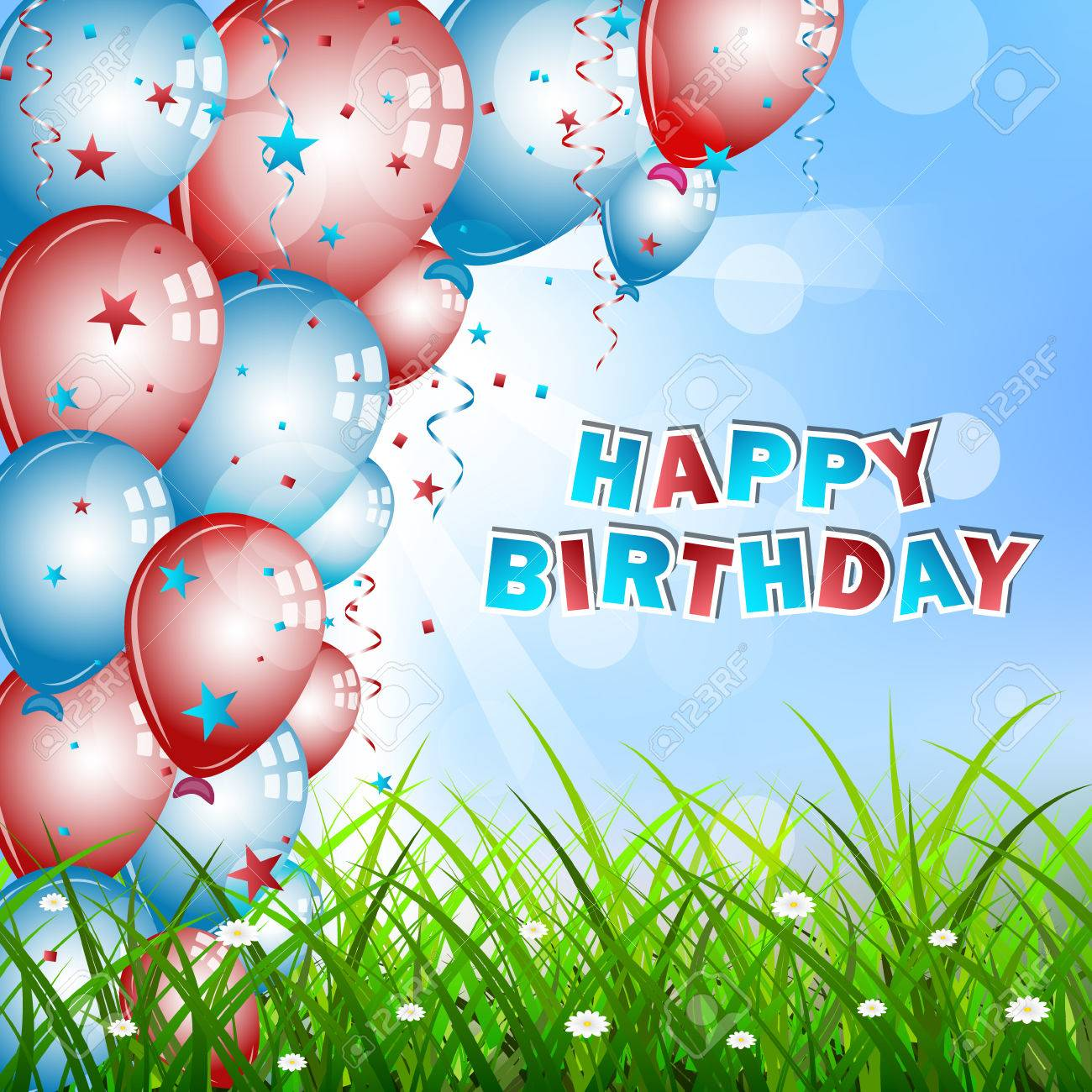 Birthday Wishes With Balloons Confetti Green Grass And Sky Vector Illustration Stock