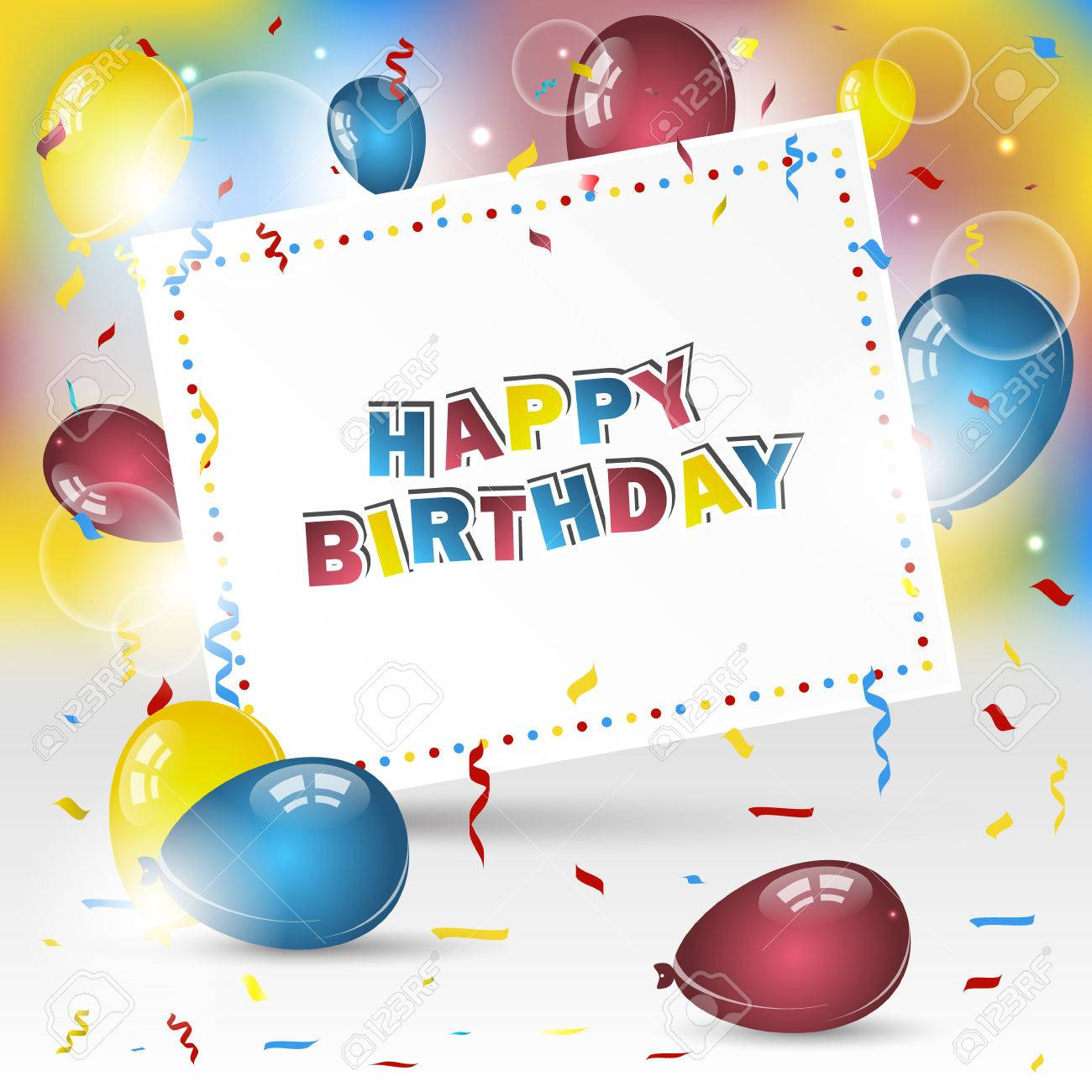 Happy Birthday Vector Background With Colorful Confetti And Balloons Design For Your Greeting Card Stock