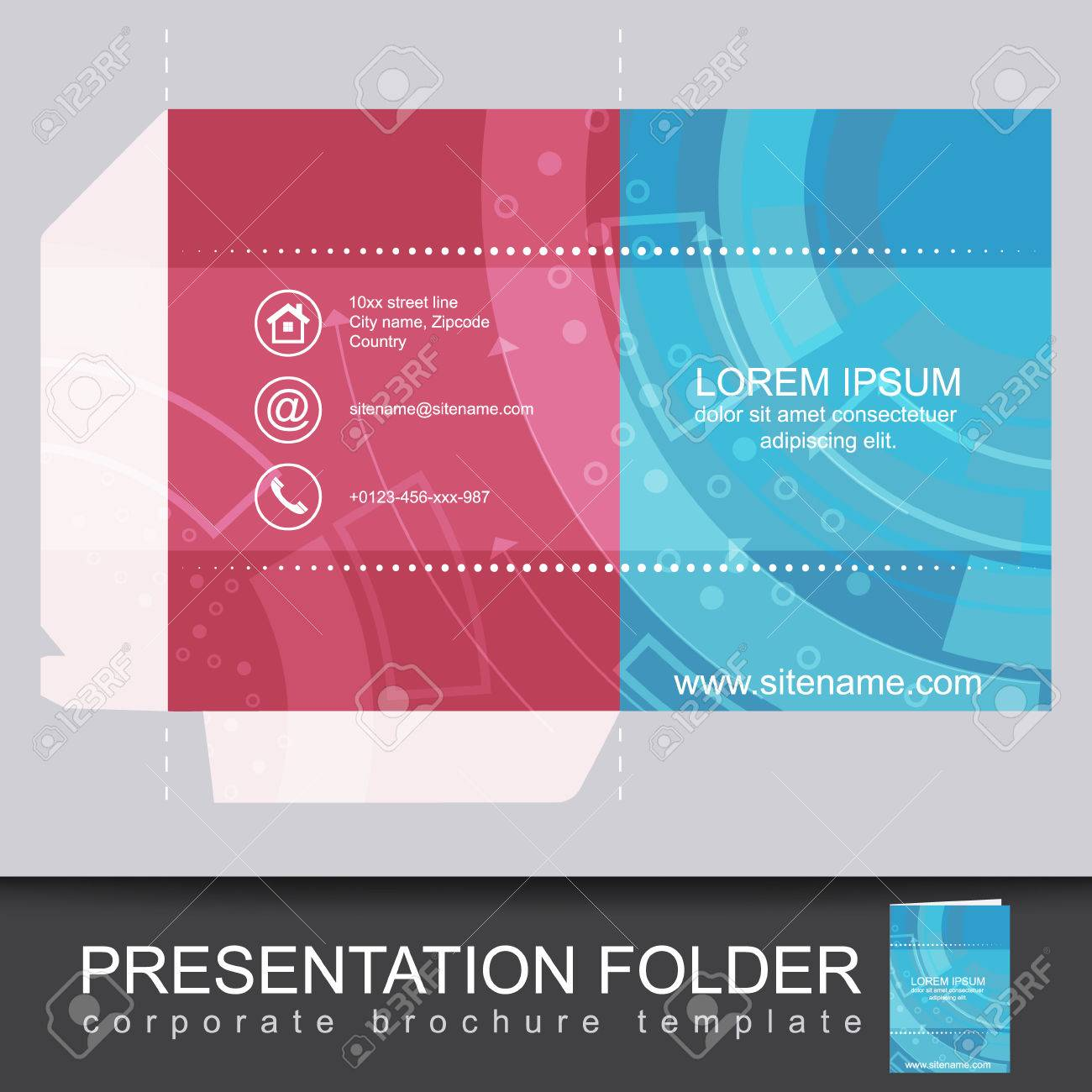 Presentation corporate folder template with die cut design vector presentation corporate folder template with die cut design vector illustration stock vector 43499911 flashek Image collections