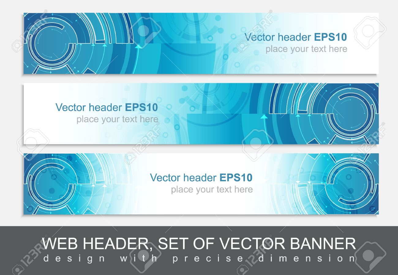 set of three horizontal website header or banner templates with