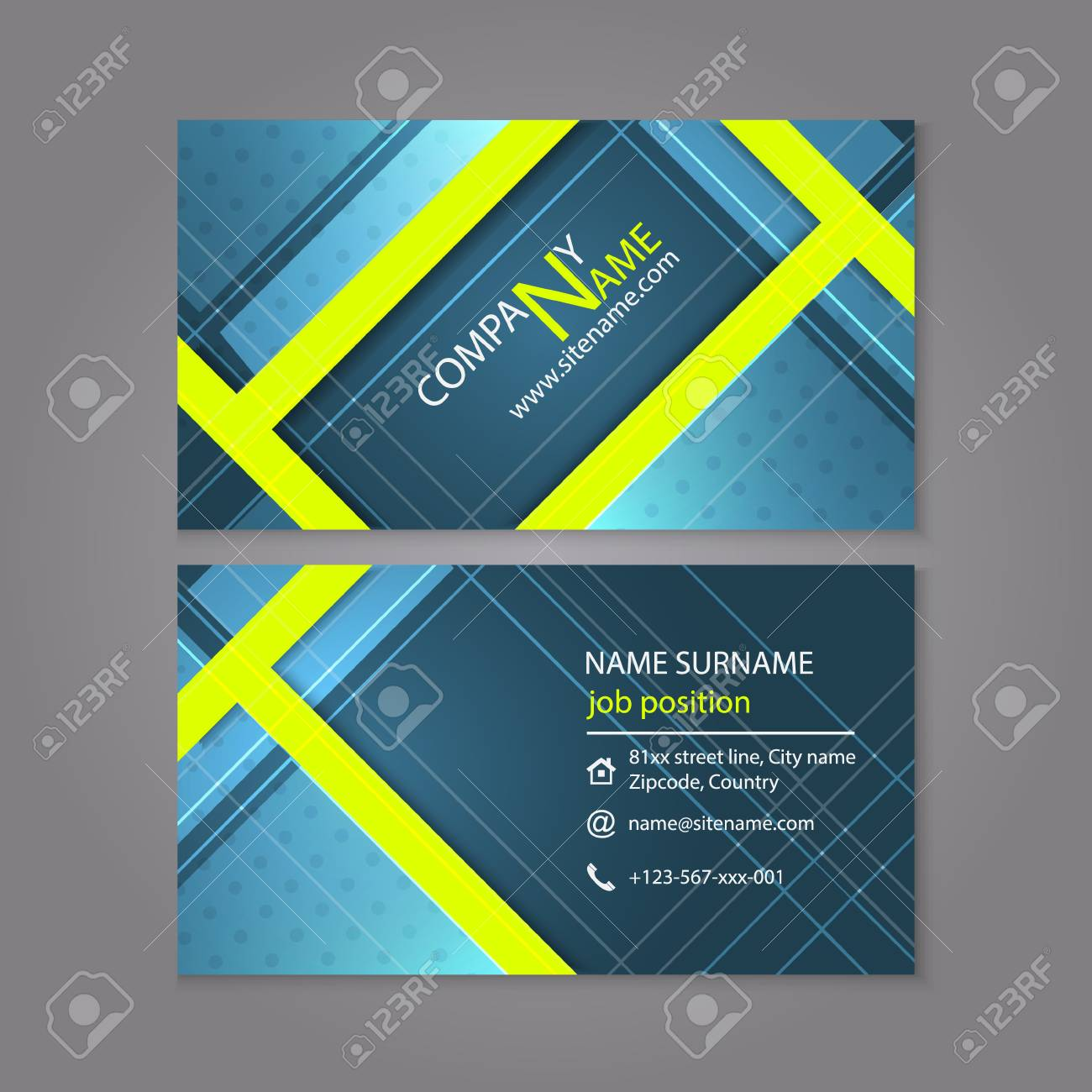 Professional Business Card Template Design Or Visiting Card Set