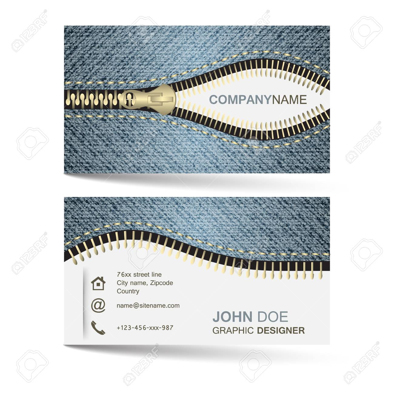 Business Card Template With Denim Jeans Pattern And Zipper For Royalty Free Cliparts Vectors And Stock Illustration Image 44525923