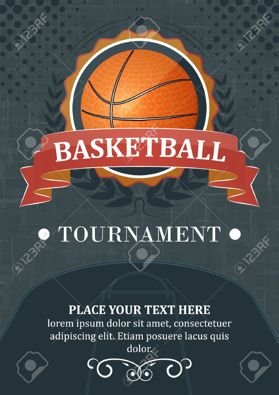 Basketball tournament background or poster. Design with ball, ribbon and laurel wreath. - 46954550