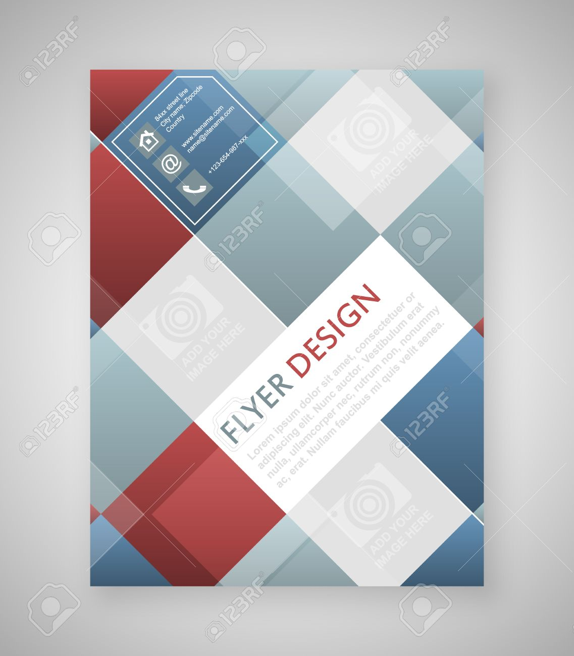 Geometric Flyer Template Design With Blue And Red Square Elements – Geometric Flyer Template