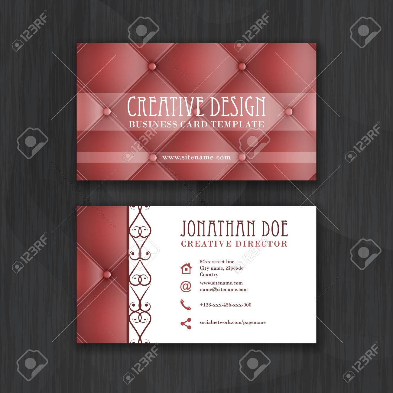 Creative business card template with leather texture. Design..