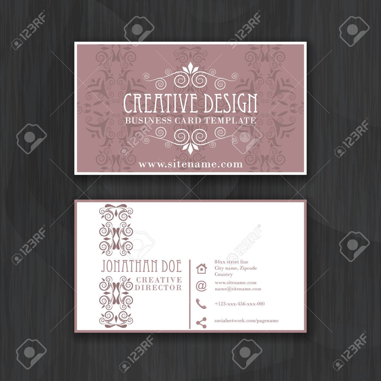Vintage elegant horizontal business card template for personal vector vintage elegant horizontal business card template for personal or professional use with front and back side vector illustration reheart Choice Image