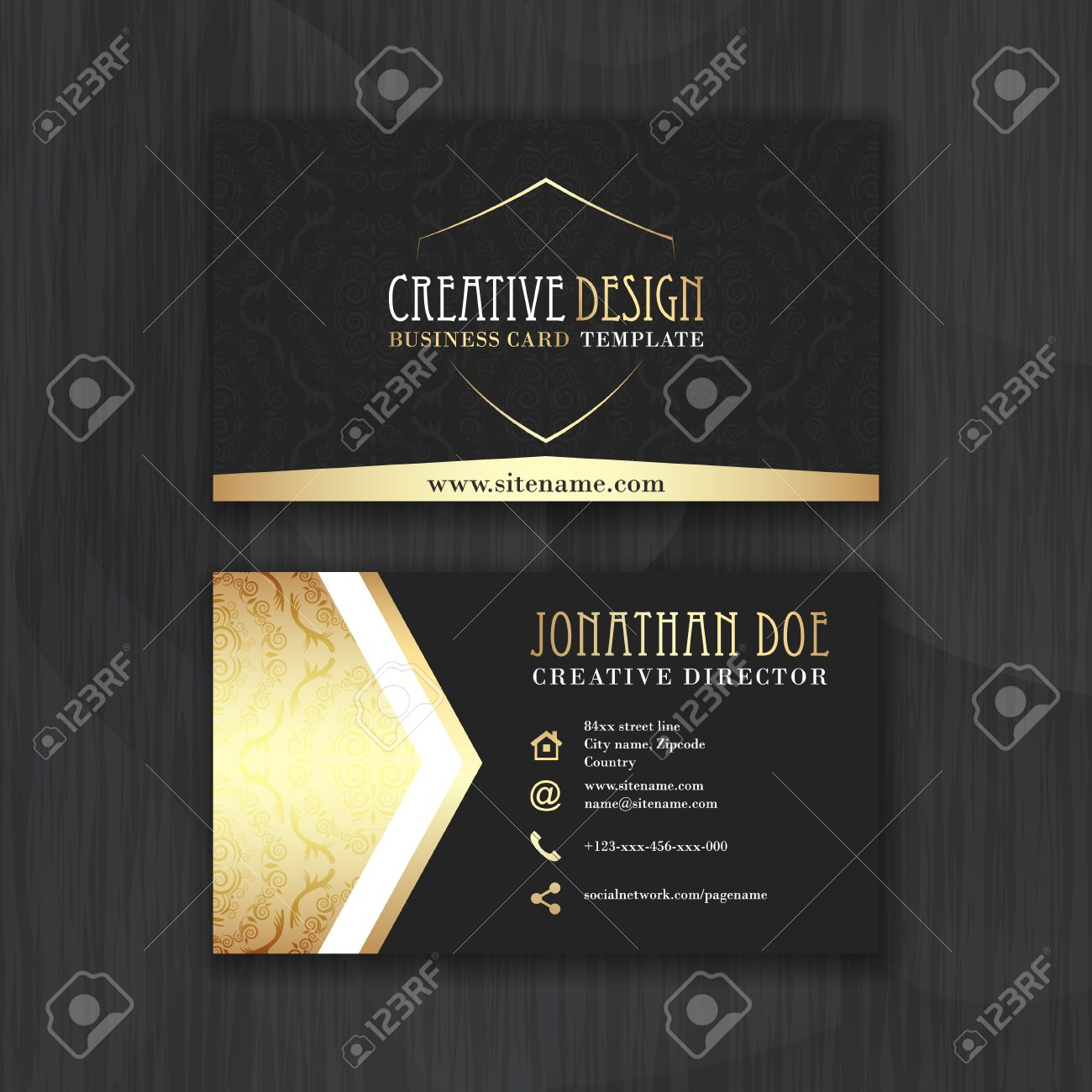 Gold And Black Horizontal Business Card Template. Design For ...