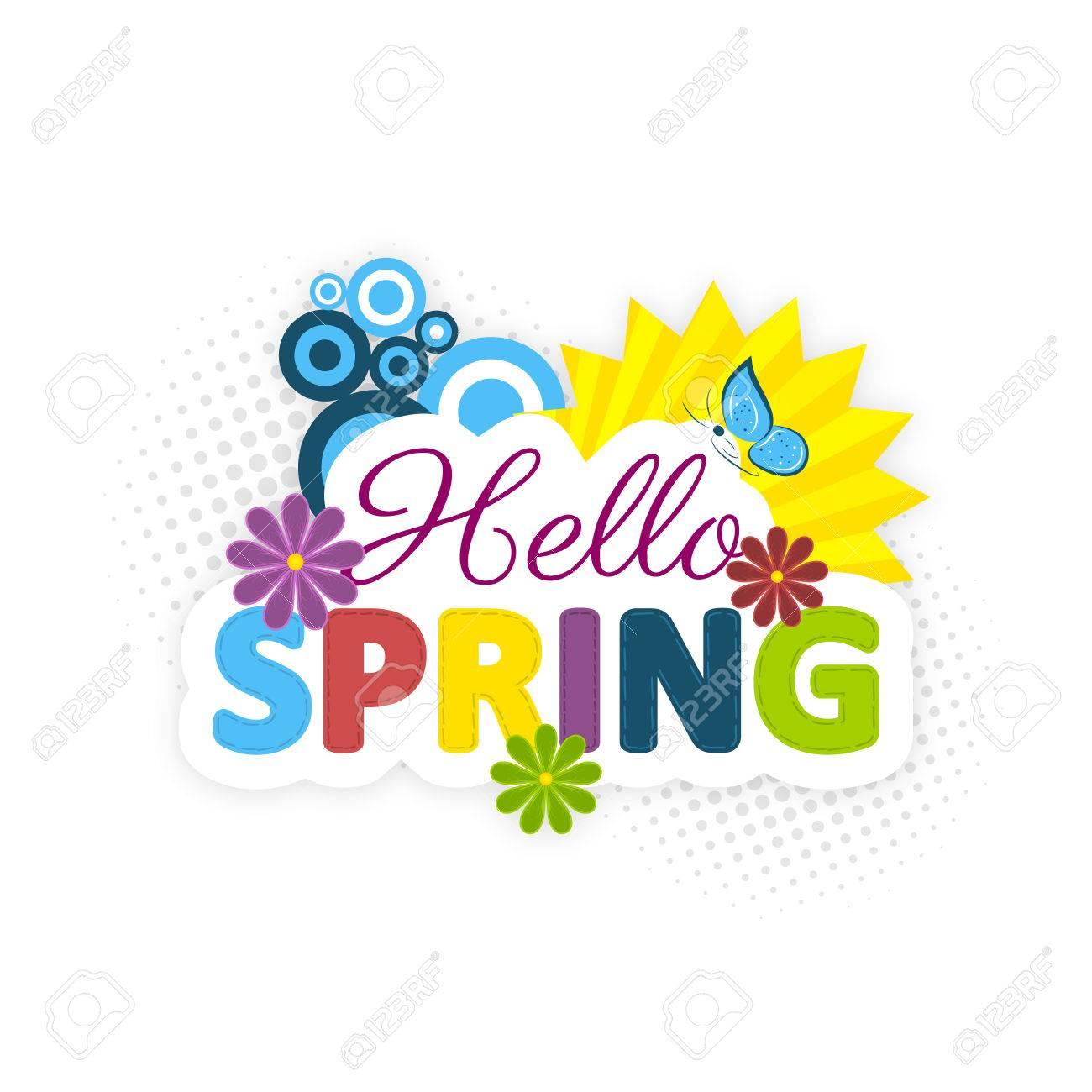 Hola Primavera Flores De Colores El Sol Y La Mariposa Azul