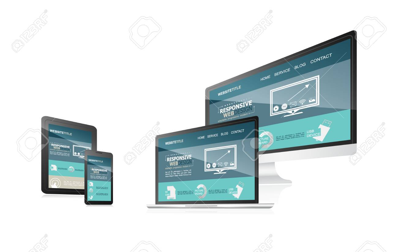 Responsive web design with different devices. illustration for your blog, working presentation or other uses. - 55367491
