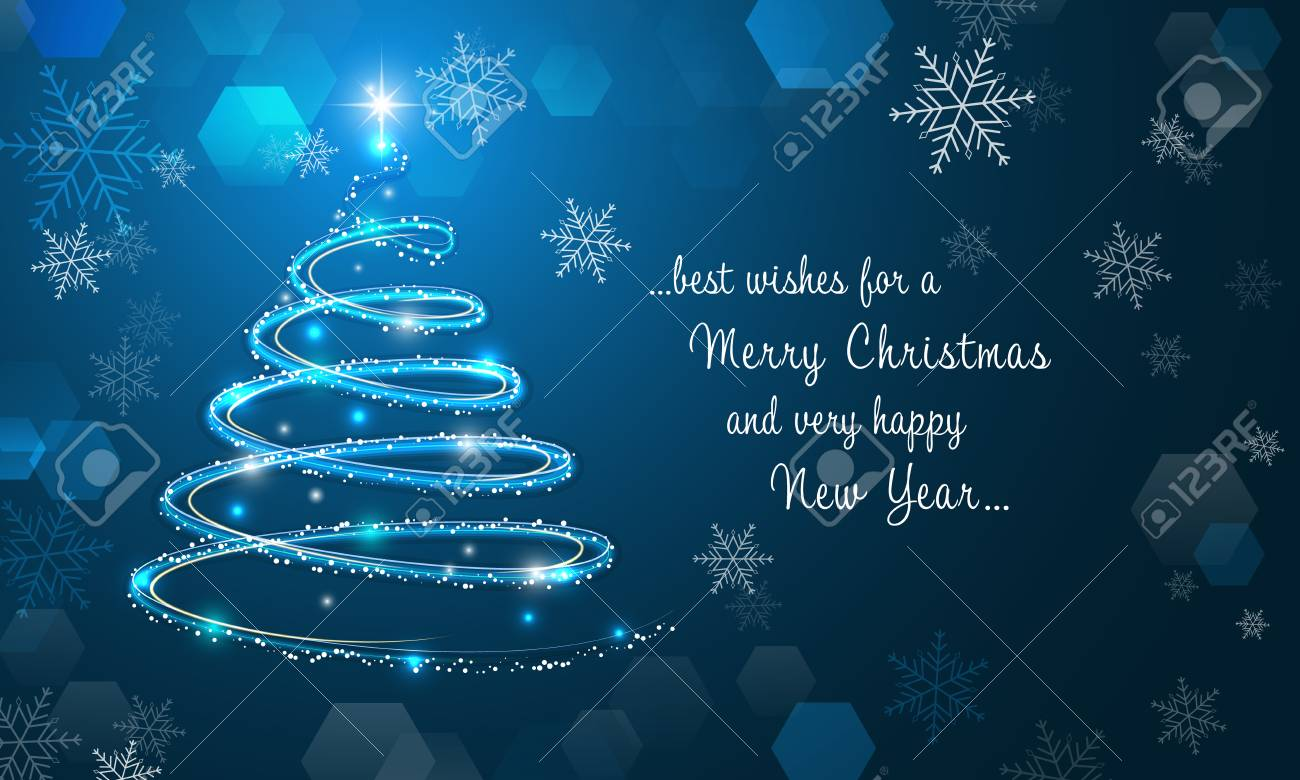 67957394 shiny christmas tree and snowflakes on blue winter background merry christmas and happy new year wal