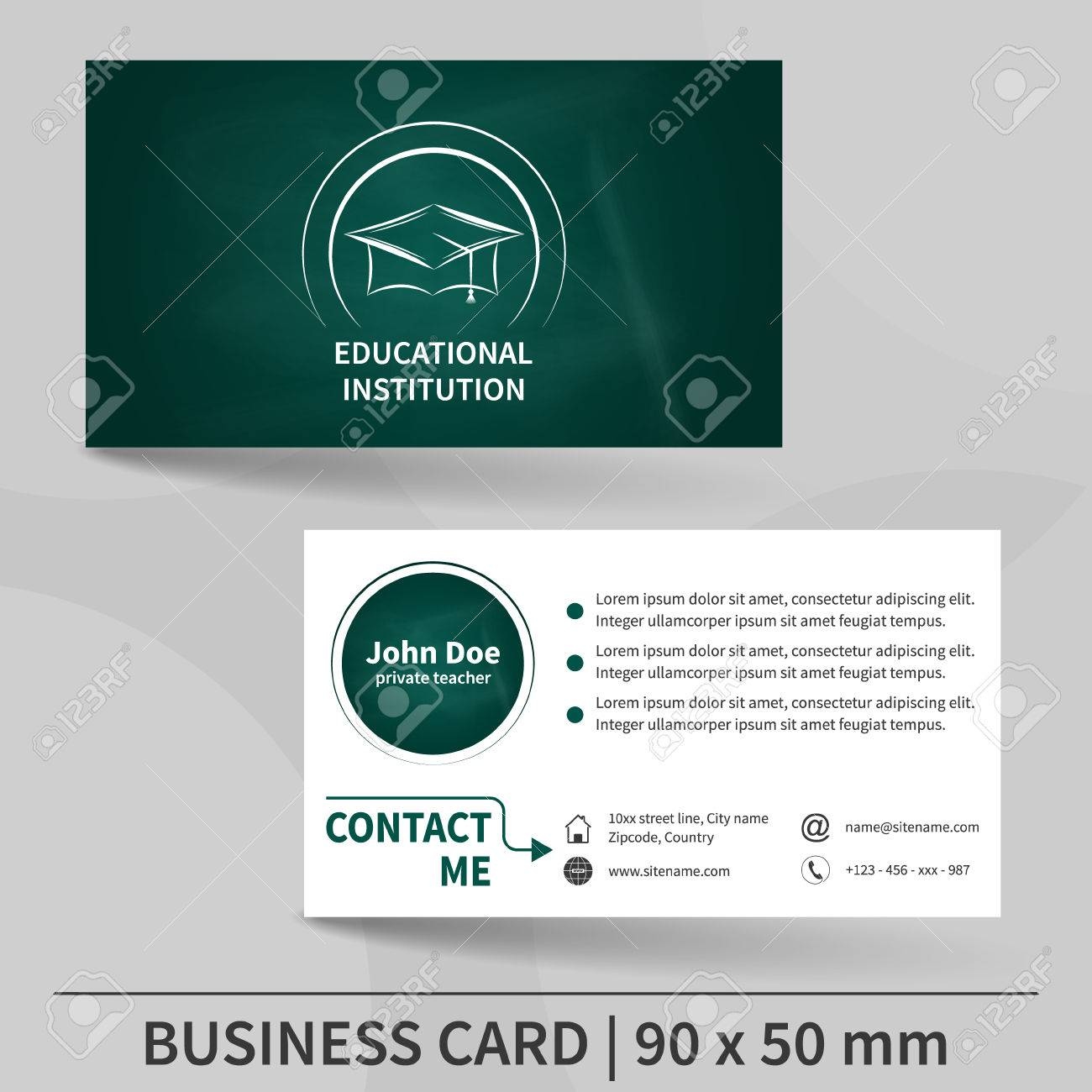 Business Card Template Blackboard Texture. Educational Institution ...