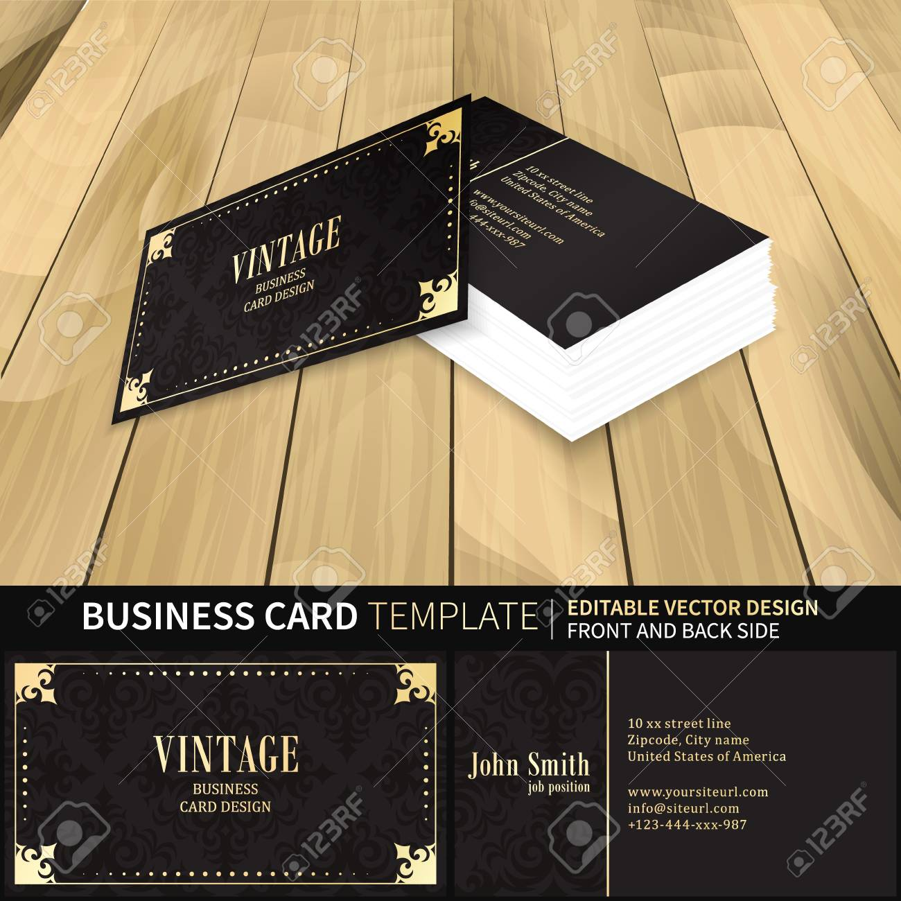 Vintage business card template with front and back side royalty vector vintage business card template with front and back side wajeb Choice Image
