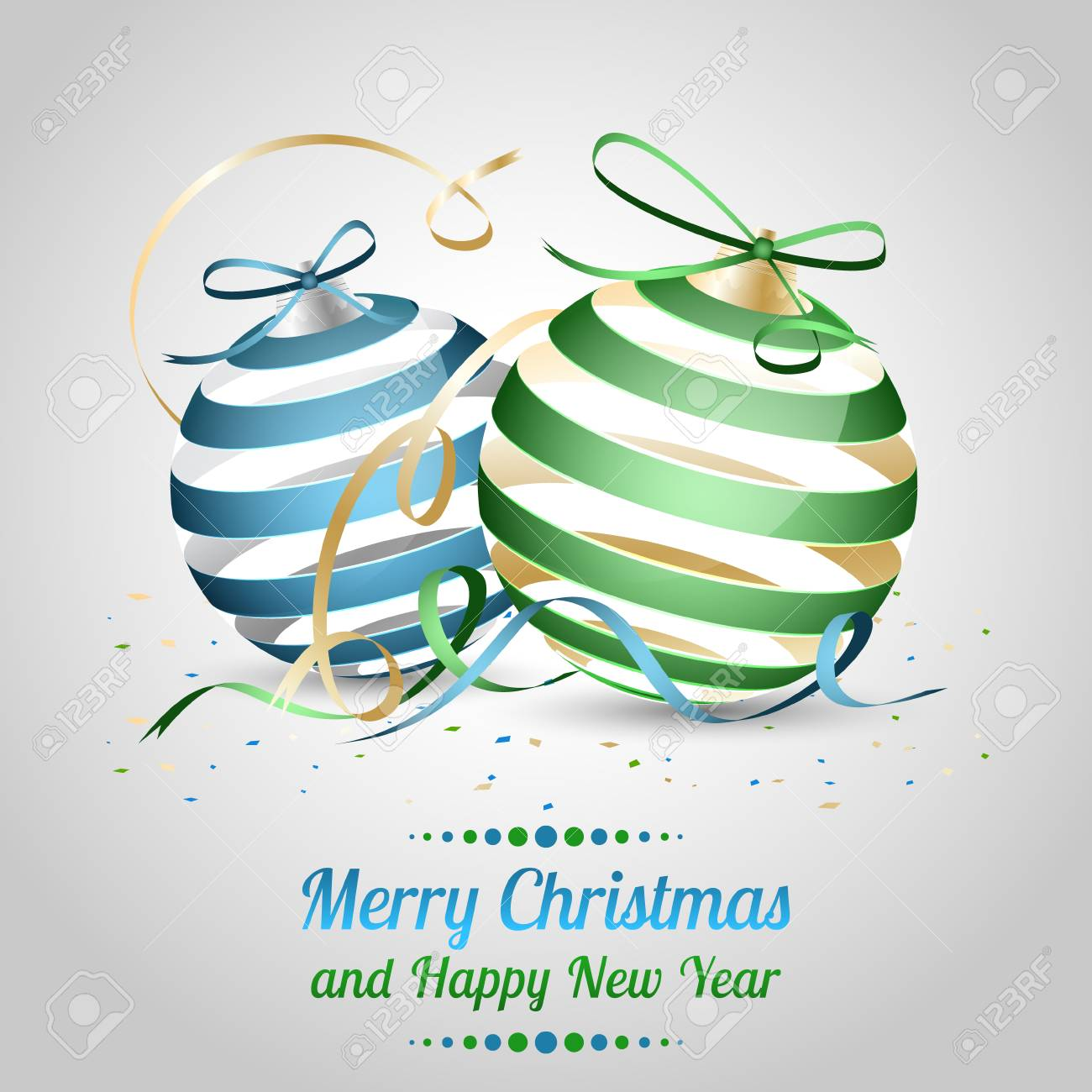 christmas and new year vector illustration as a wish with blue and green christmas baubles