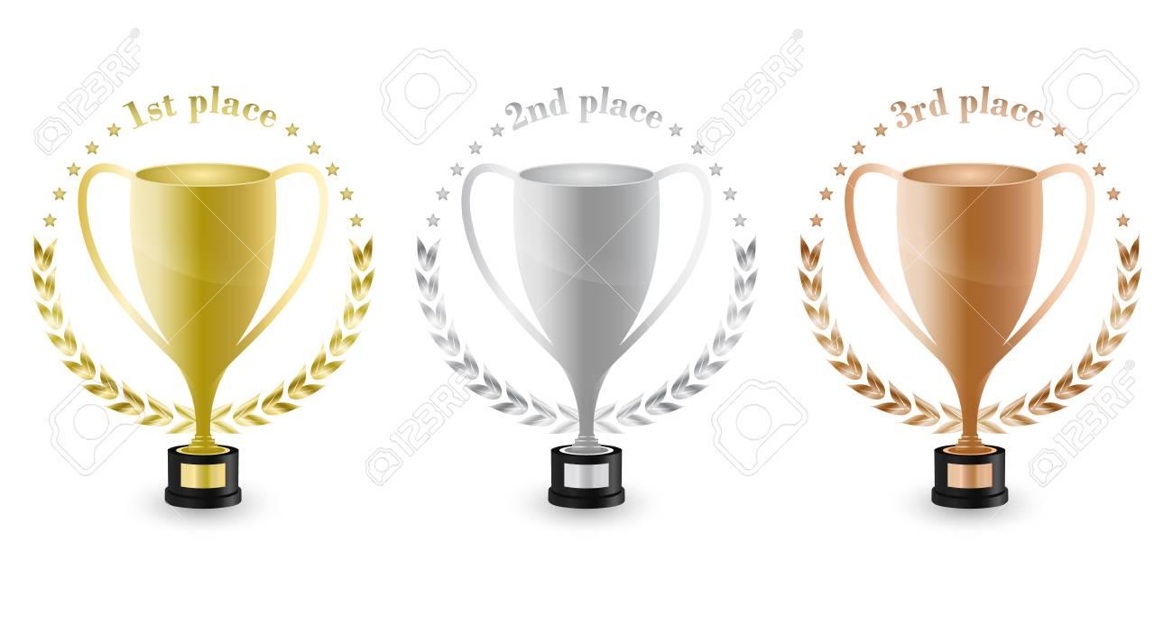 1 位 2 位 月桂樹のリースと星で 3 位のスポーツ トロフィーです 金 銀 銅のトロフィー ベクトルの図 のイラスト素材 ベクタ Image