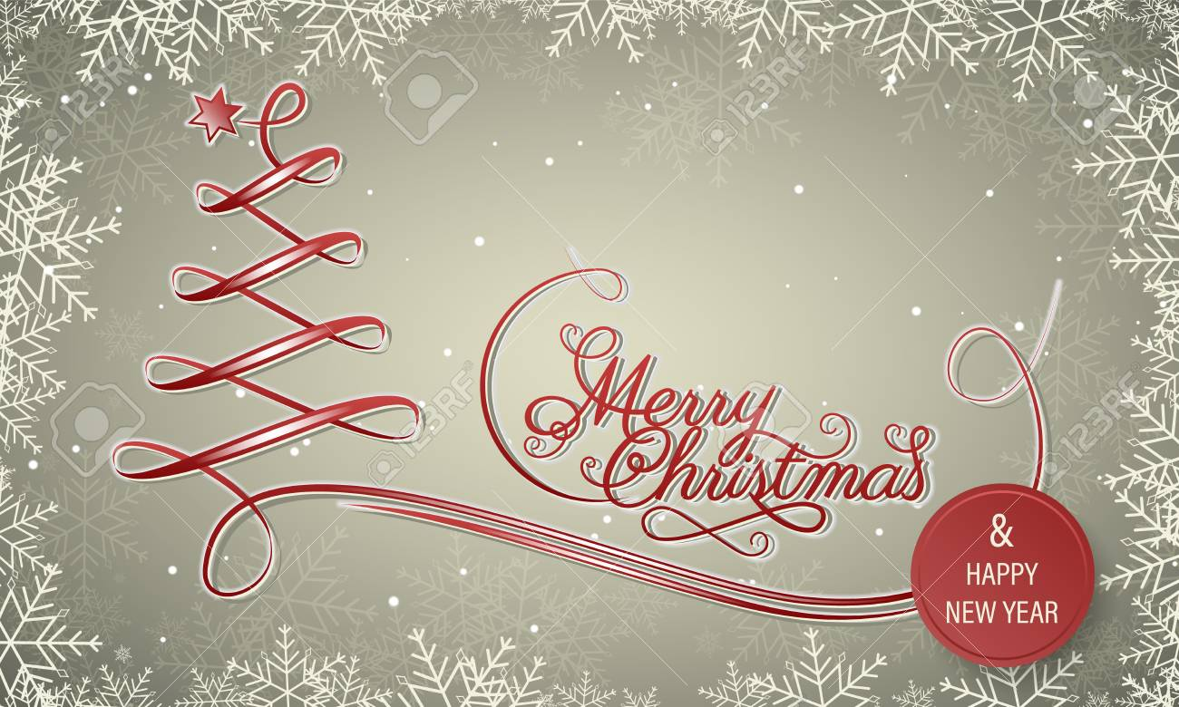Holiday Winter Banner With Snowflake Frame Merry Christmas And