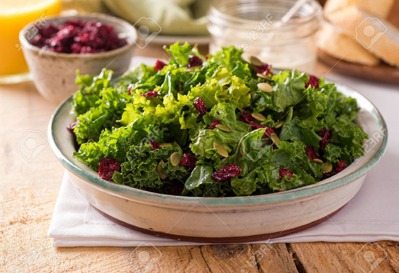 recipe: kale salad with cranberries and pumpkin seeds [12]