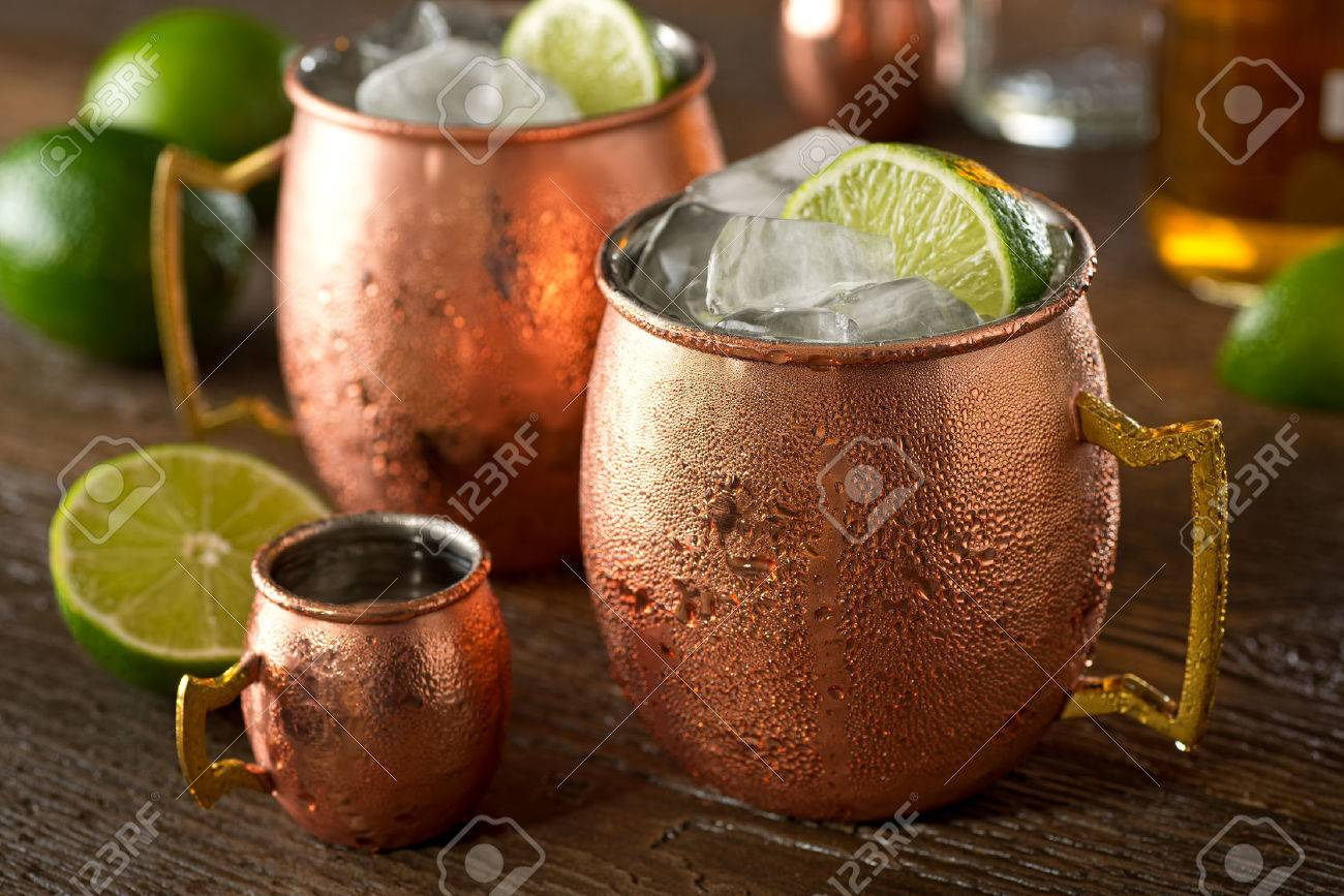 A Delicious Moscow Mule Cocktail With Vodka Ginger Beer Lime Stock Photo Picture And Royalty Free Image Image 81659523