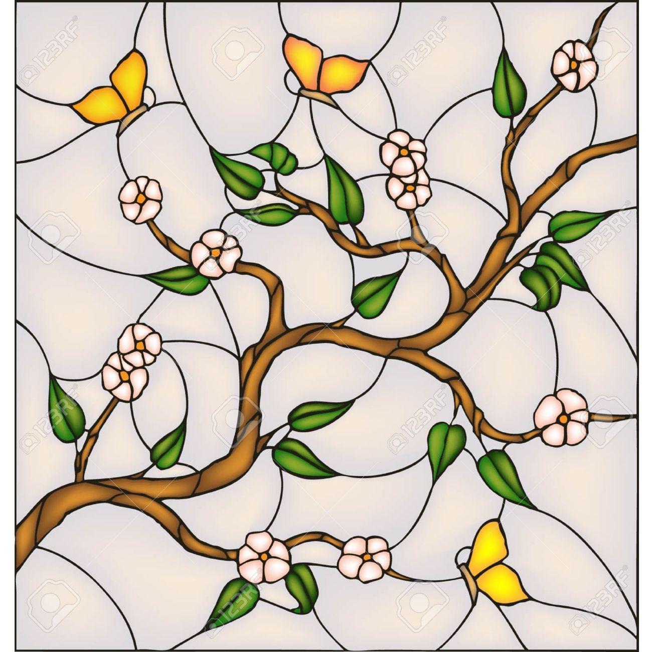 Japón Cerezos En Flor Con Las Mariposas, Vector Ventana De Cristal ...