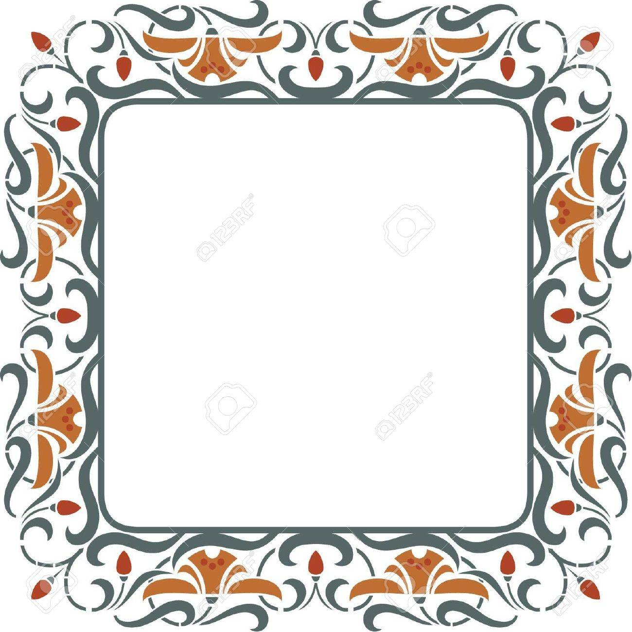 Square vintage vector floral frame - Strawberry with blossom Stock Vector - 18345291