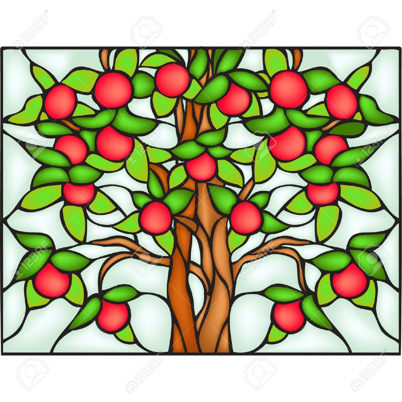 Apple tree, stained glass window Stock Vector - 19456563