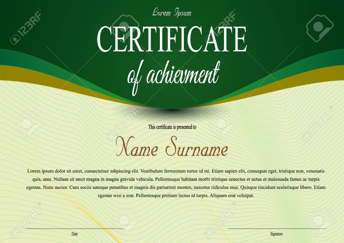 Vector Certificate Diploma Template With Luxury Ribbon In Green