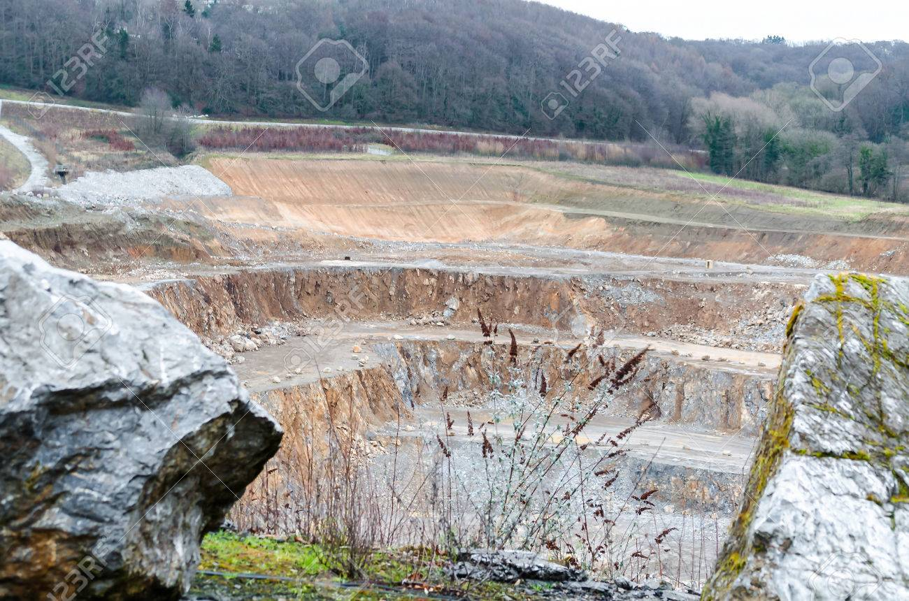 View of the underground mining of limestone mine works in Wlfrath