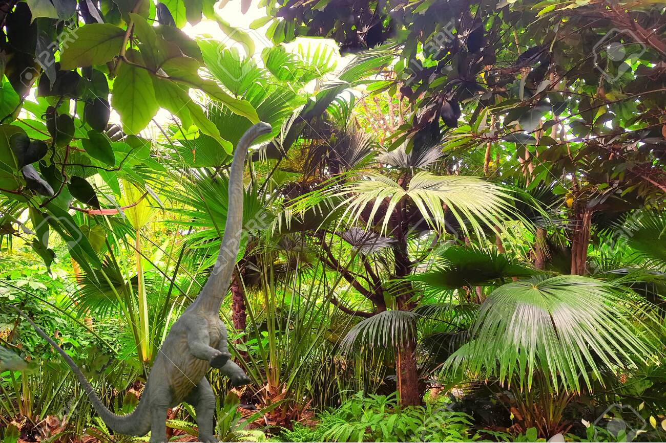 Big Dinosaur Long Neck Close Up Against The Backdrop Of A Jungle Stock Photo Picture And Royalty Free Image Image 133170608